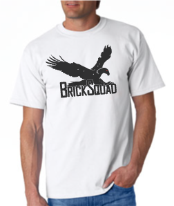 Brick Squad Tshirt: White With Black Print