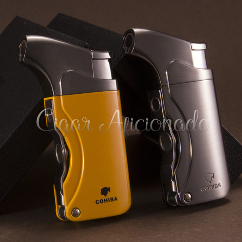 COHIBA Brand New High Quality Pocket Size Metal Windproof Torch Jet Flame Butane Gas Cigarette Cigar Lighter W/ Double Cigar Punch