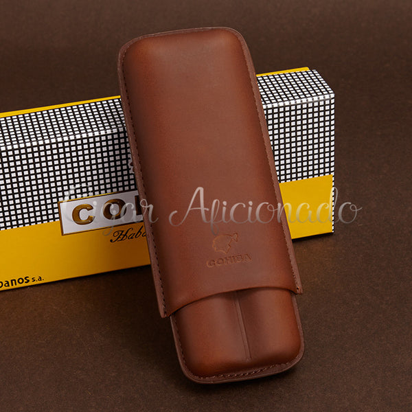 Gorgeous Portable Brown Leather Cigar Case Travel Holder 2 Cigar Tubes with Black Gift Box