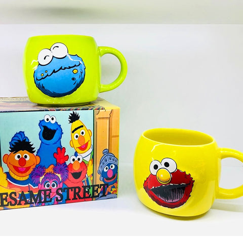 Vintage Sesame Street ELMO and COOKIE MONSTER Ceramic Coffee/Tea Mugs