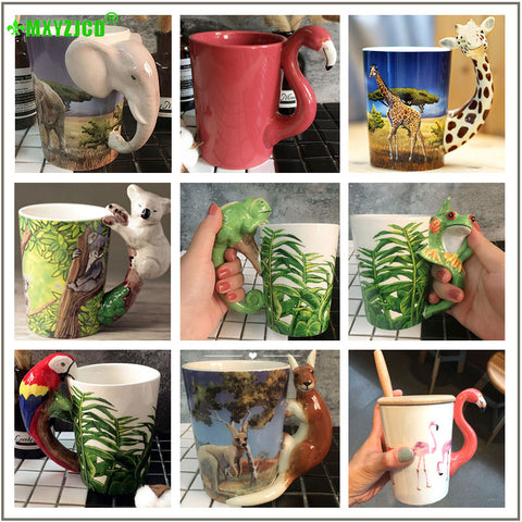 Hand Painted and Sculpted Animal Pattern Ceramic Mark Water/Coffee/Tea Cup Ideal for Office Decorative Purpose.