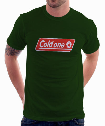 Coleman Logo Parody Spoof Tshirt: Coldone Logo Hunter Green Colored Tshirt