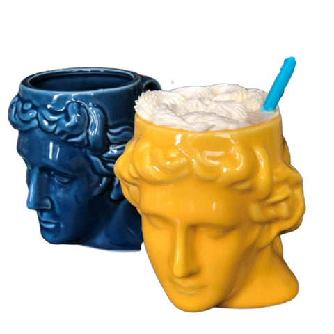 Limited Edition Apollo David Head Sculptured 3D Ceramic Milk/Coffee/Tea Mugs