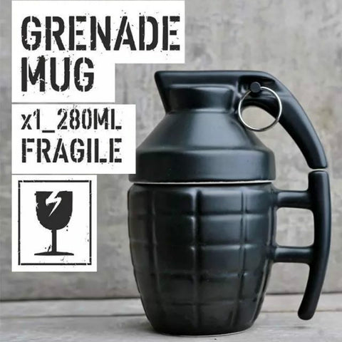 Cool Army Grenade Monolayer Ceramic Coffee/Tea Cup with Lid Ideal for Office/Personal Use