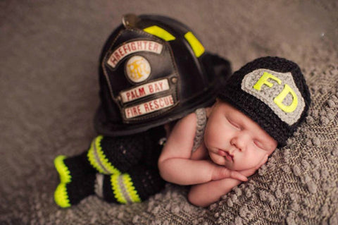 Newborn Infant Firefighter Baby Bunkers Handmade Crochet Knitted Costume