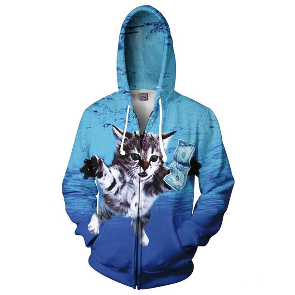 Nirvana Nevermind Kitty 3D Print Zippered Hoodie