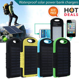 20,000MAH Portable Waterproof Solar Charger Dual USB External Battery Power Bank For Cell Phone Accessories USB Cable