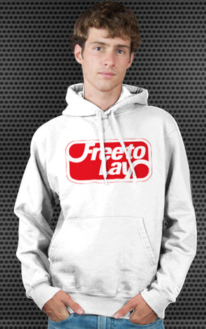 Frito-Lay Logo Parody Spoof Hoodie: Free to Lay Logo Red Print on White Colored Hoodie Hoody Sweatshirt