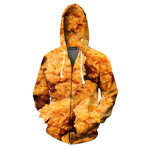 Fried Chicken Allover 3D Print Zippered Hoodie