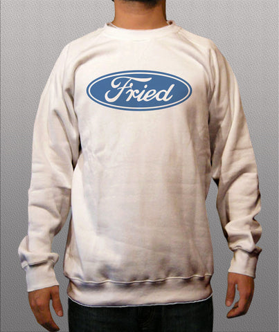 Fried White Crewneck Sweatshirts