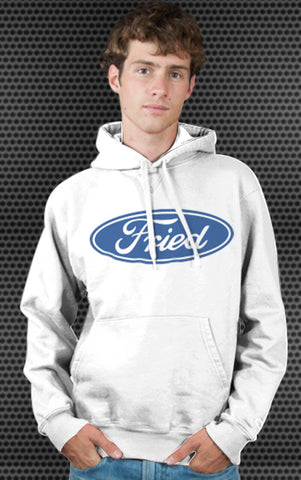 Ford Motor Company Logo Parody Spoof Hoodie: Fried Logo Blue Print on White Colored Hoodie Hoody Sweatshirt
