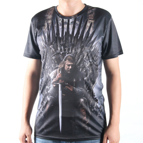 Game Of Thrones Ned Stark Iron Throne Allover 3D Print Tshirt