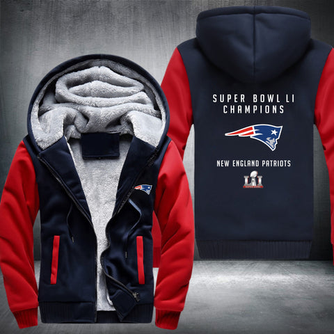 NFL SUPER BOWL LI CHAMPIONS NEW ENGLAND PATRIOTS THICK FLEECE JACKET