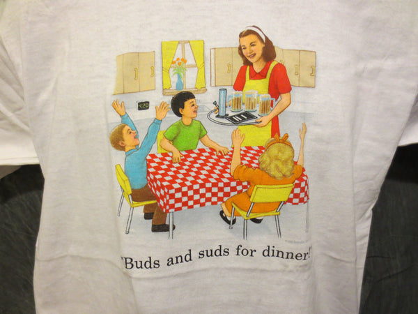 Childhood Buds and Suds for Dinner Adult White Tshirt - TshirtNow.net - 1