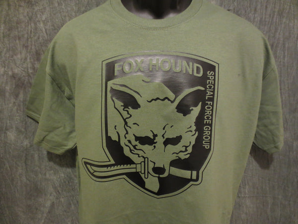 Metal Gear Solid Fox Hound Special Force Group Tshirt: Military Army O.D. Green With Black  Print - TshirtNow.net - 1