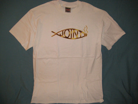 Darwin Joint Spoof Logo White Tshirt Size L