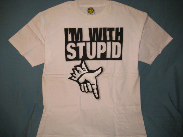 I'm With Stupid Adult White Size XL Extra Large Tshirt - TshirtNow.net