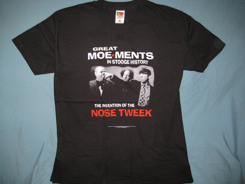 Three Stooges Nose Tweek Adult Black Size XL Extra Large Tshirt