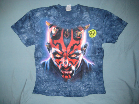 Star Wars Darth Maul Glows-in-The-Dark Liquid Blue Blue Custom Tye Dye Tshirt Size XL