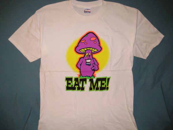 Mushroom 'Eat Me' **Glows In The Dark** Adult White Size XL Extra Large Tshirt - TshirtNow.net - 1