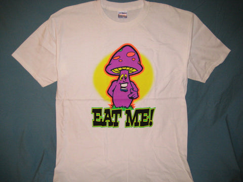 Mushroom 'Eat Me' **Glows In The Dark** Adult White Size XL Extra Large Tshirt