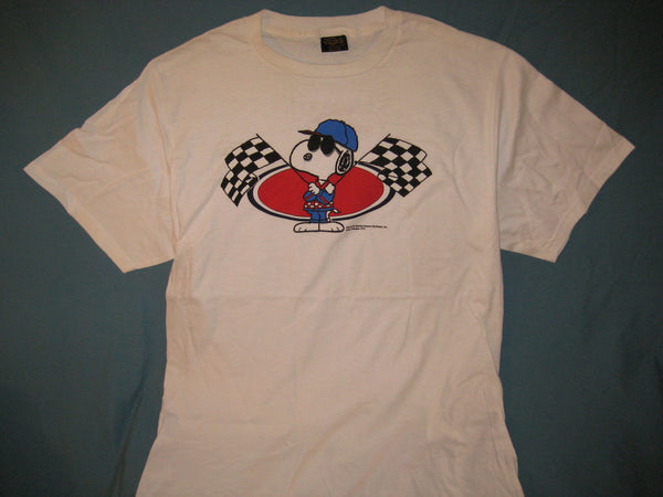 Peanuts Snoopy Joe Cool Checkered Flags White Tshirt Size XL - TshirtNow.net - 1
