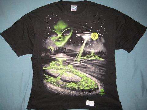 Alien Saucer Crop Circles Glows-in-the-dark Black Tshirt Size XL