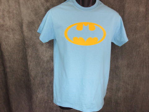 Batman One Color Classic Logo on Carolina Blue Tshirt
