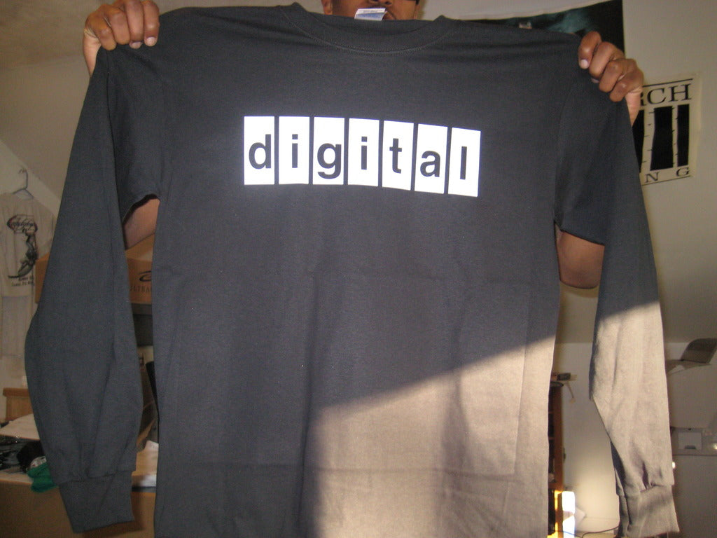 Digital Equipment Corporation Logo Longsleeve Tshirt: Black With White Print