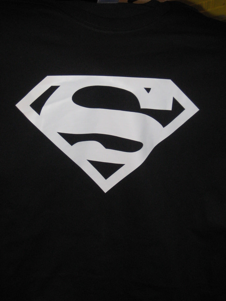 Superman White Classic Plain Logo Black Tshirt