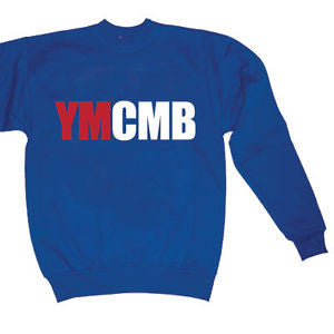 Ymcmb Crewneck Sweatshirt: Royal Blue With Red and White Print