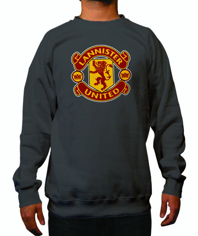 LIMITED EDITION: Game of Thrones Manchester United Logo Parody Spoof House Lannister United Logo on Grey Colored crewneck sweatshirt
