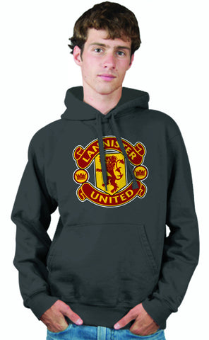 LIMITED EDITION: Game of Thrones Manchester United Logo Parody Spoof Hoodie: House Lannister United Logo on Grey Colored Hoodie Hoody Sweatshirt