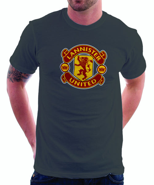 LIMITED EDITION: Game of Thrones Manchester United Logo Parody Spoof t-shirt: House Lannister United Logo on Grey Colored Tshirt - TshirtNow.net - 1