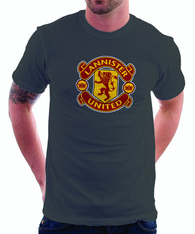 LIMITED EDITION: Game of Thrones Manchester United Logo Parody Spoof t-shirt: House Lannister United Logo on Grey Colored Tshirt