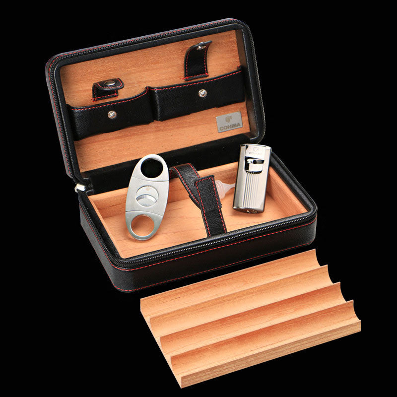 Superb Luxury Cohiba Cigar Box Humidor Case Genuine Leather Wood Cabinet Travel  Storage Box 4pcs Include Cutter (No Lighter)