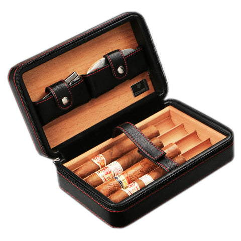 Luxury Cohiba Cigar Box Humidor Case Genuine Leather Wood Cabinet Travel Storage Box 4pcs Include Cutter (No Lighter)