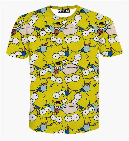 The Simpsons Homer, Lisa and Maggie Simpson Allover Print Tshirt - TshirtNow.net