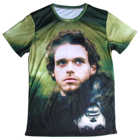 Game of Thrones Rob Stark Face Allover 3D Print Tshirt