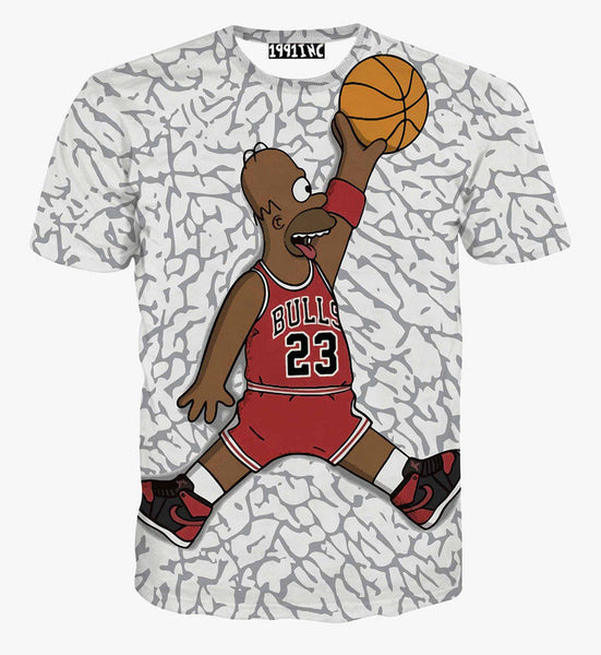 The Simpsons Homer Simpson Chicago Bulls Basketball Allover Print Tshirt - TshirtNow.net - 1