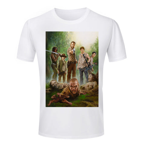 The Walking Dead Gang Shooting Zombies Tshirt