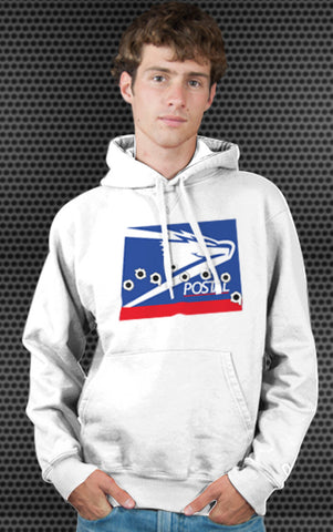 USPS United States Postal Service Logo Parody Spoof Hoodie: Postal Logo on White Colored Hoodie Hoody Sweatshirt