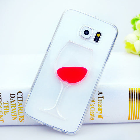 Wine Lovers Red Wine Cup Liquid Clear Case For Samsung Galaxy S7 S6 Edge S5 S6 Note 3 Note 4 Note 5 Hard Transparent Phone Cases Back Cover