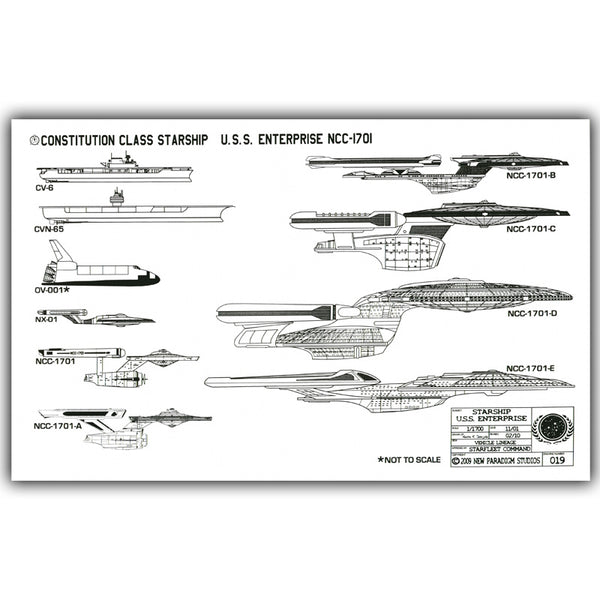 Star Trek Enterprise Starship Models Blueprints Poster Silk Print Wall Art