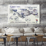 Star Trek Spaceship Blueprints Poster Silk Wall Art