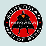 Superman Herowear Round Logo on Ash Gray Hoodie for Men - TshirtNow.net - 2