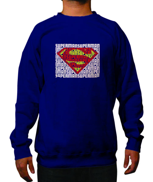 Superman Word Art Logo On Navy Crewneck for Men - TshirtNow.net - 1