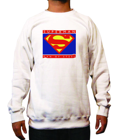 Superman Man of Steel Block Logo on White Crewneck for Men