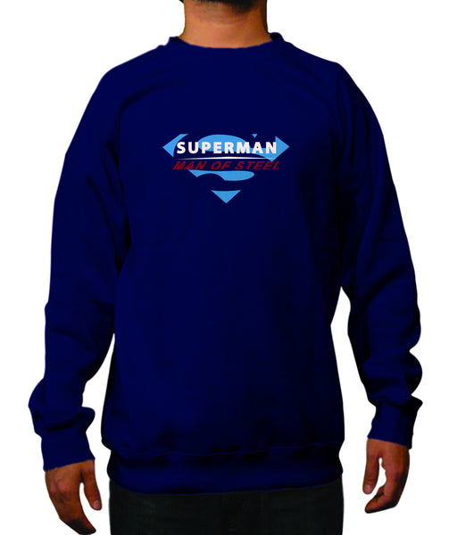 Superman Man of Steel Logo on Navy Colored Fitted Crewneck for Men - TshirtNow.net - 1