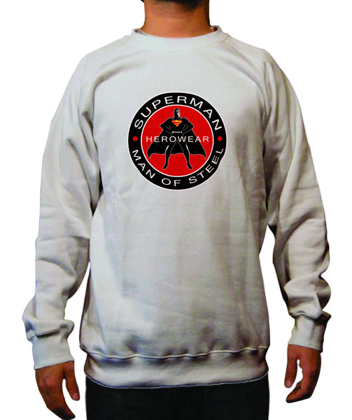 Superman Man Of Steel Herowear Round Logo on Ash Gray Crewneck - TshirtNow.net - 1